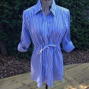 Blue/white stripe blouse